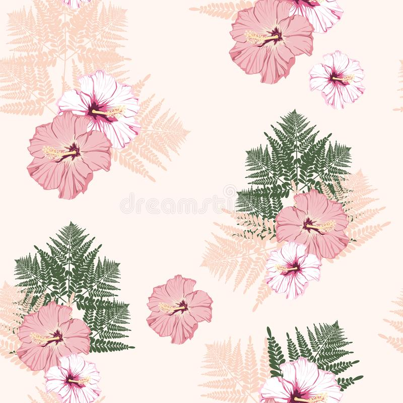 Fern tropical leaves and hibiscus flower seamless pattern . Bush plant leaves decoration on peach background. Colorful fern tropical forest herbs, fern frond stock illustration