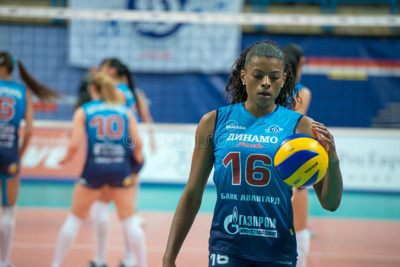 Fernanda Garay Rodriguez (Dynamo (MSC) 16. MOSCOW, RUSSIA - DECEMBER 2: Fernanda Garay Rodriguez (Dynamo (MSC) 16, while playing on women's Rissian volleyball stock photo
