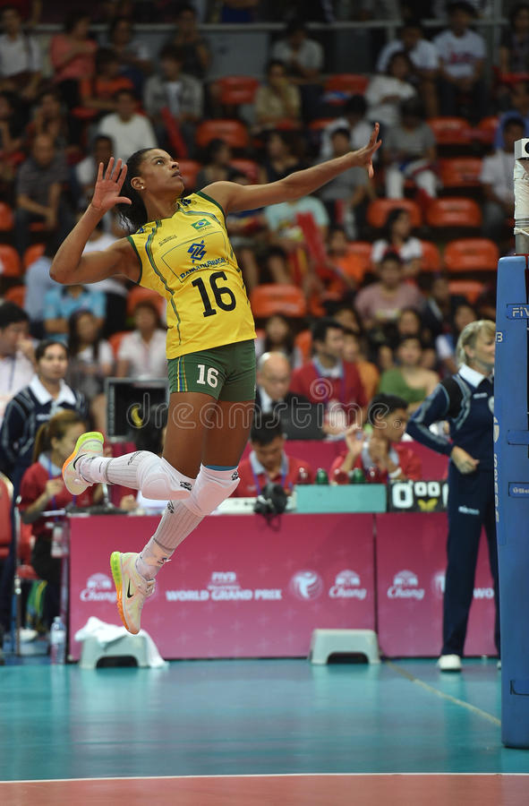 Fernanda Rodrigues of Brazil. Bangkok, Thailand - August 15 Fernanda Rodrigues of Brazil participates in a Volleyball World Grand Prix 2014 at Indoor Stadium royalty free stock images