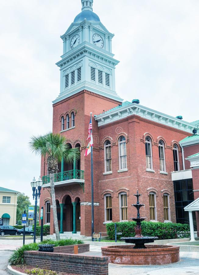 FERNANDINA BEACH, FL - FEBRUARY 15, 2016: City buildings on a ov. Ercast day. This is a famous tourist attraction stock photography