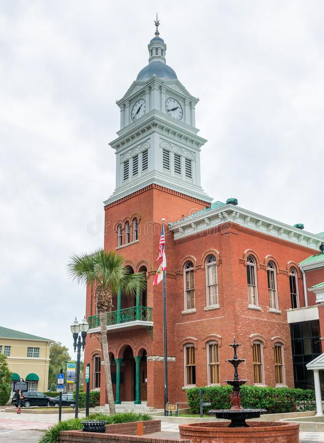 FERNANDINA BEACH, FL - FEBRUARY 15, 2016: City buildings on a overcast day. This is a famous tourist attraction.  stock photography