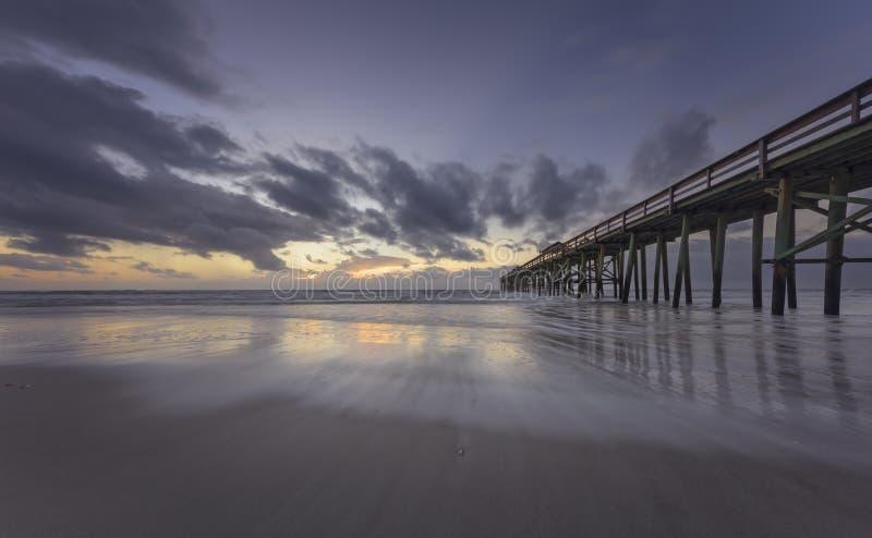 Fernandina Beach Pier. Pier in Fernandina Beach on Amelia Island during sunrise stock photo