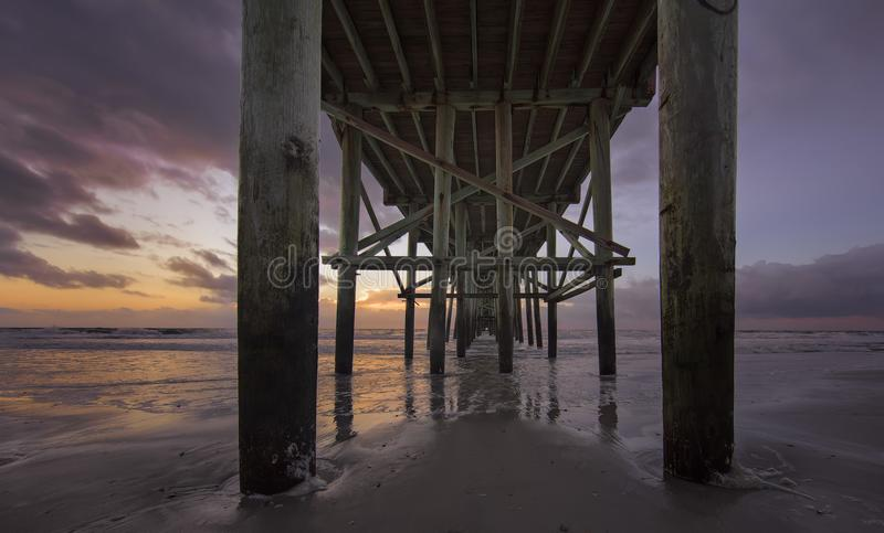 Fernandina Beach Pier. Pier in Fernandina Beach on Amelia Island during sunrise royalty free stock images