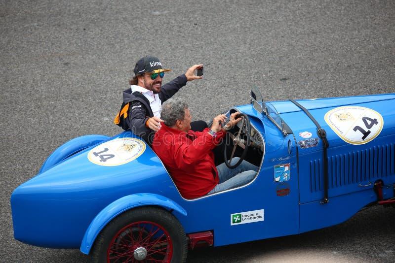 Fernando Alonso i den Monza F1 granda prixen 2018 arkivfoto