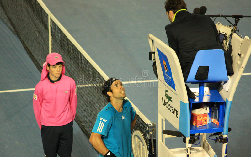 Fernando Gonzalez complaining at Umpire royalty free stock image