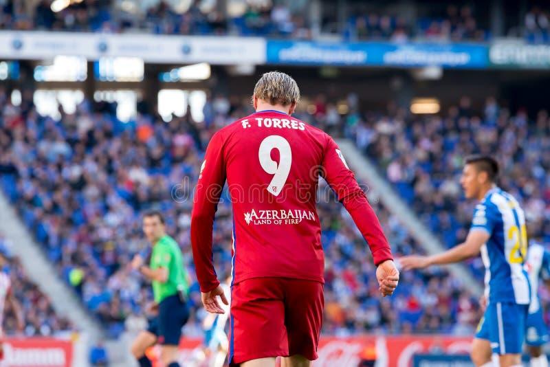 Fernando Torres spielt am La Liga-Match zwischen RCD Espanyol- und Atletico-De Madrid lizenzfreies stockfoto