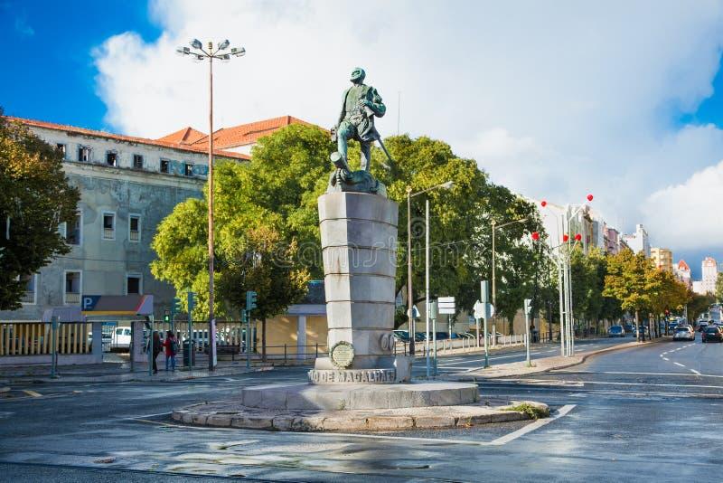 Fernao de Magalhaes på Placa de Chile i Lissabon, Portugal fotografering för bildbyråer