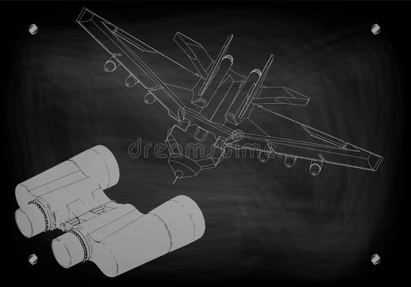 Ferngläser und Kämpfer vektor abbildung