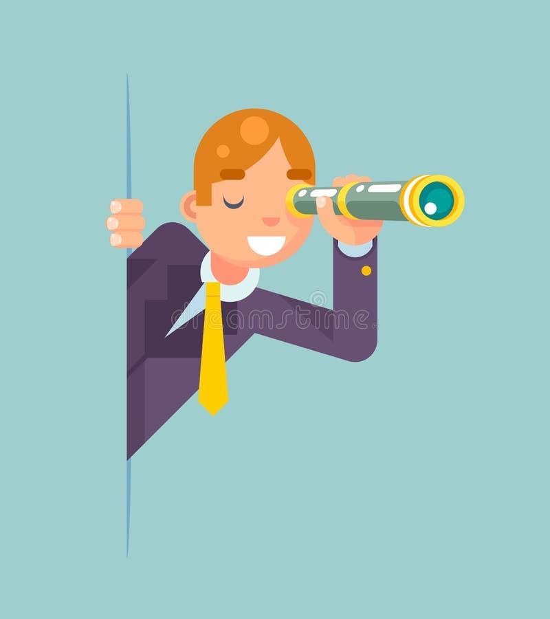 Fernglas-Teleskop-Spions-Blick-heraus Ecken-Ideen-Suchentdeckungs-Konzept-Überwachungs-Karikatur-Geschäftsmann Character Solution stock abbildung