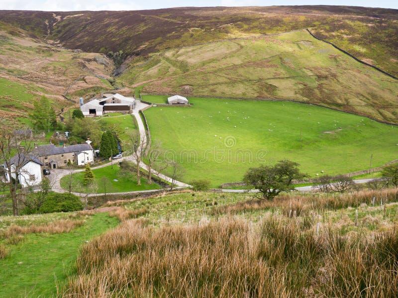 Fernhügel-Bauernhof, England Stockfotografie