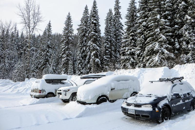 A parking lot in the forests of Fernie, British Columbia, Canada. The cars, parking lot,and surrounding trees are covered in snow stock photo