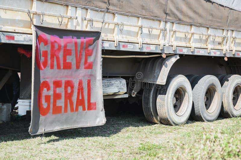 Fernlastfahrer auf Streik lizenzfreies stockbild