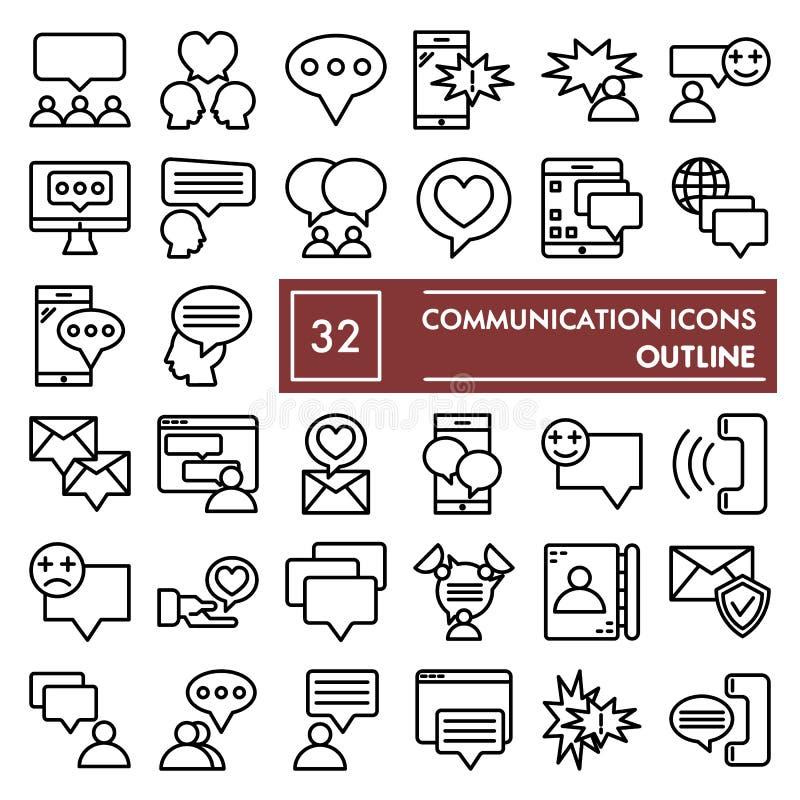Fernmeldeleitung Ikonensatz, Gesprächssymbole Sammlung, Vektorskizzen, Logoillustrationen, Mitteilungszeichen linear vektor abbildung