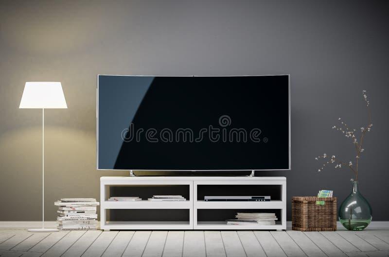 Fernsehanzeige mit leerem Bildschirm im Wohnzimmer stockfotografie