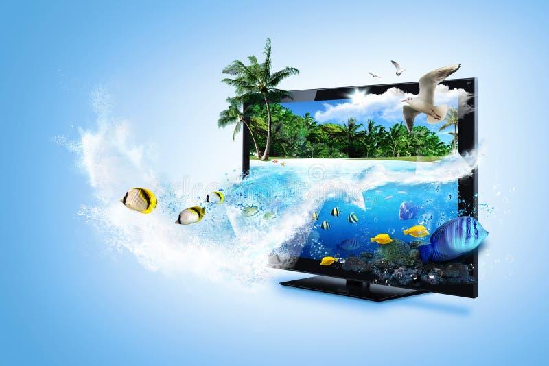 Fernsehapparat 3D - glauben Sie der Natur lizenzfreies stockfoto