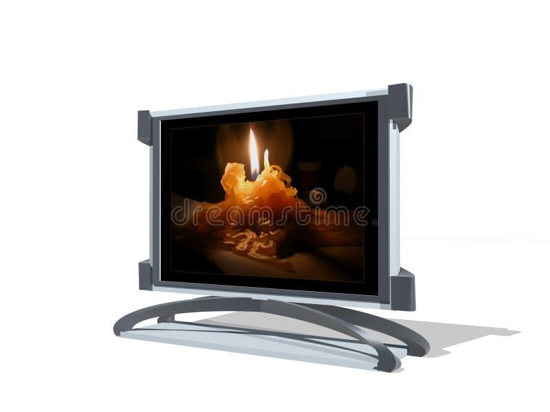 Fernsehapparat 3D mit Kerze vektor abbildung