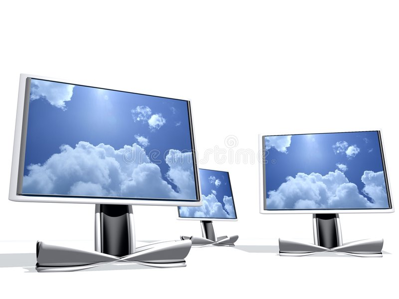 Fernsehapparat drei 3d lizenzfreie abbildung