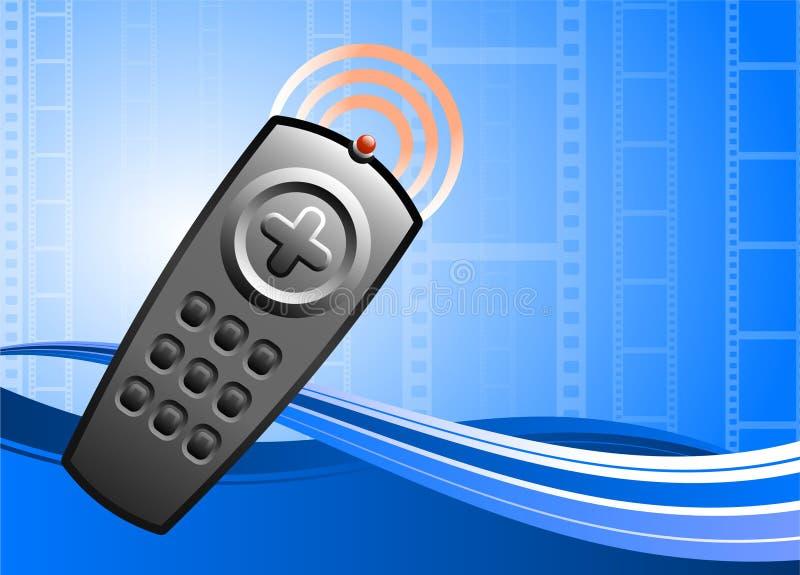 Fernsehapparat Fernsteuerungs auf Filmhintergrund stock abbildung