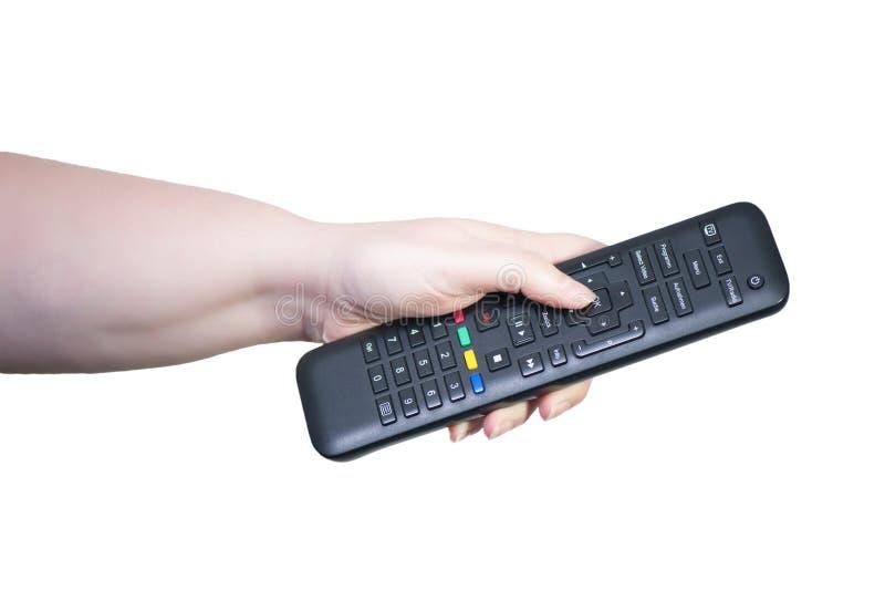 Fernsehapparat Fernsteuerungs in der Hand stockfotos