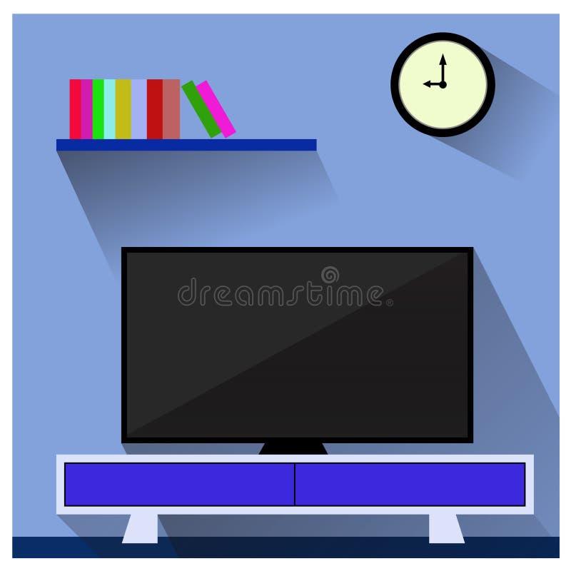 Fernsehapparat im Wohnzimmer lizenzfreie abbildung