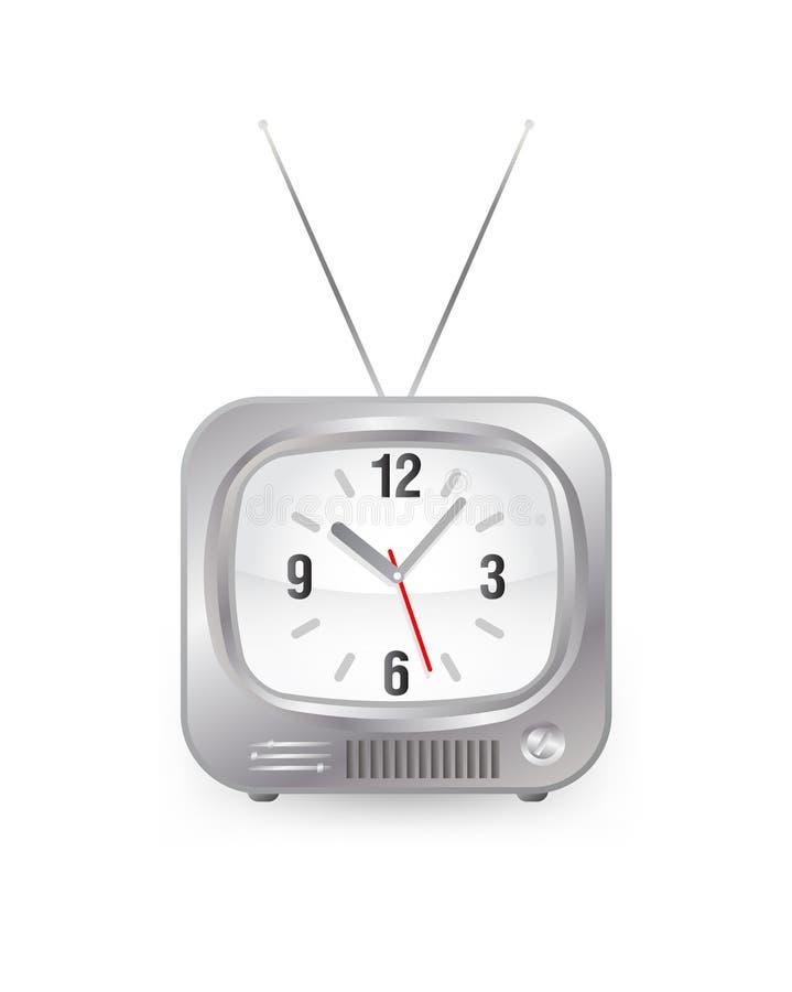 Fernsehapparat mit Borduhr stock abbildung