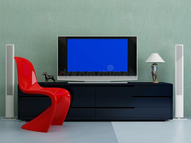 Fernsehapparat mit dem dunkelblauen Bildschirm stock abbildung