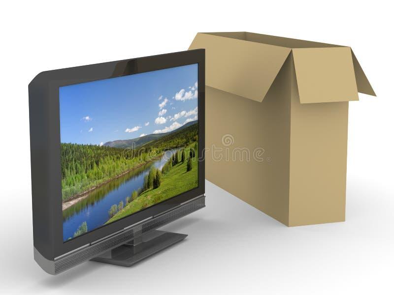Fernsehapparat und Kasten auf weißem Hintergrund lizenzfreie abbildung