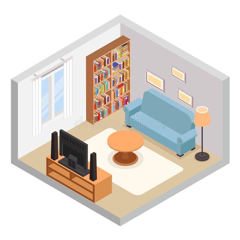 Fernsehdes couchsofabücherregals Halls isometrischer des Möbelraumes moderner Konzept-Vektorillustration flacher Entwurf im Schni vektor abbildung