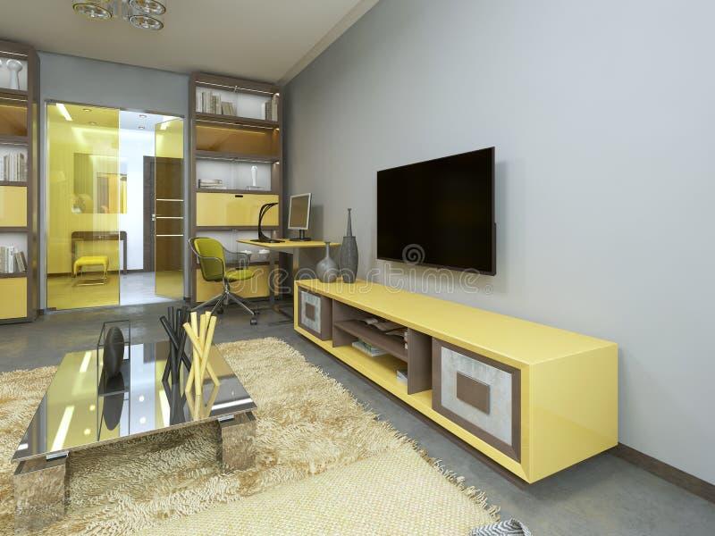 Fernseheinheit im Wohnzimmer mit gelbem Fernsehen auf der Wand stock abbildung
