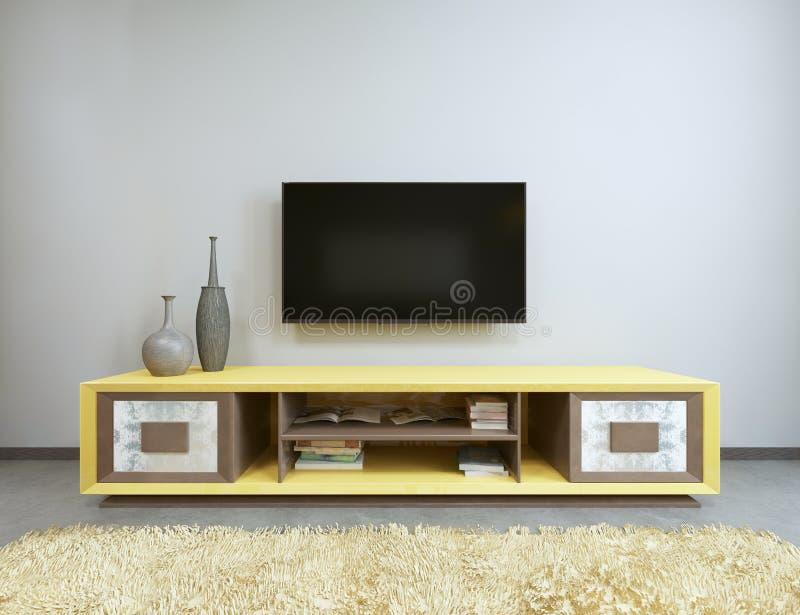 Fernseheinheit im Wohnzimmer mit gelbem Fernsehen auf der Wand lizenzfreie abbildung