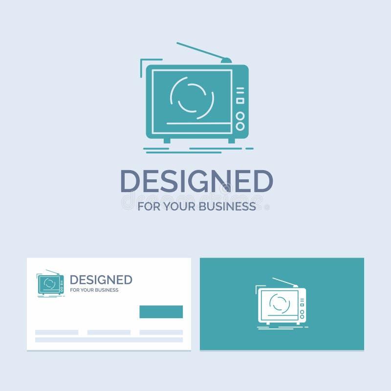 Fernsehen, Anzeige, Werbung, Fernsehen, gesetztes Geschäft Logo Glyph Icon Symbol für Ihr Geschäft T?rkis-Visitenkarten mit Marke vektor abbildung