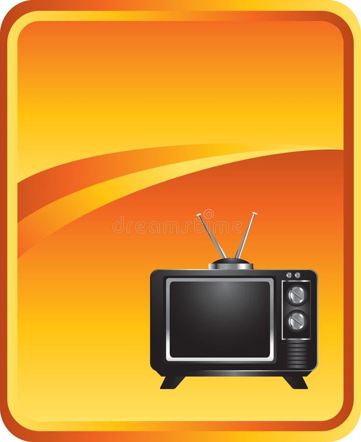 Fernsehen auf orange Hintergrund stock abbildung