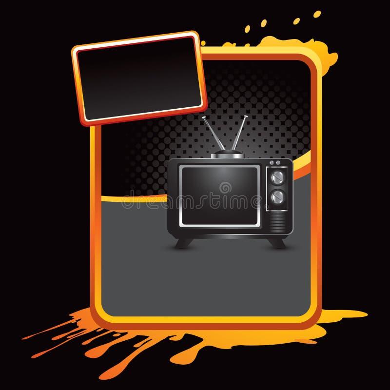 Fernsehen auf orange splattered Reklameanzeige lizenzfreie abbildung