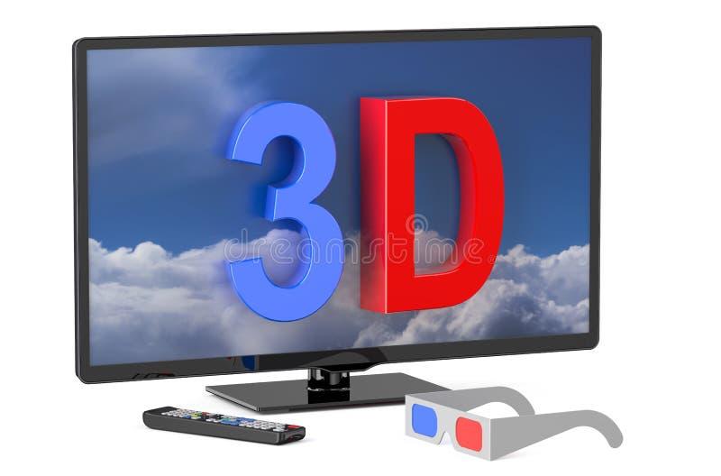 Fernsehen 3D und Gläser 3D stock abbildung