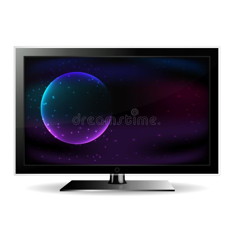 Fernsehen, das den Raum zeigt lizenzfreie abbildung