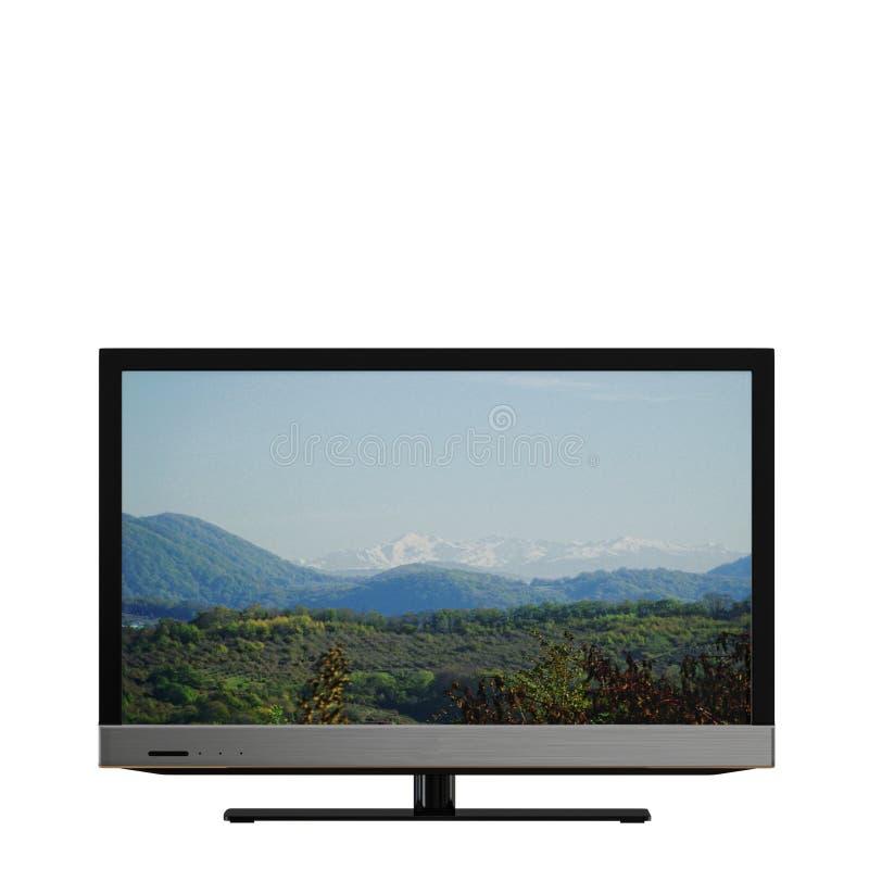 Fernsehen mit einem Bild der Berge auf einem weißen Hintergrund 3d stock abbildung