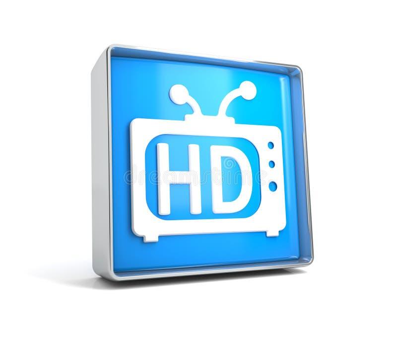 Fernsehen - Netzknopf lokalisiert auf weißem Hintergrund lizenzfreie abbildung