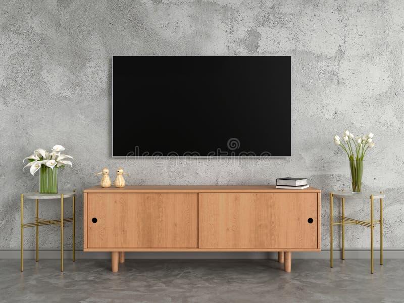 Fernsehen und Anrichte mit großem Bildschirm im Wohnzimmer, Wiedergabe 3D stock abbildung