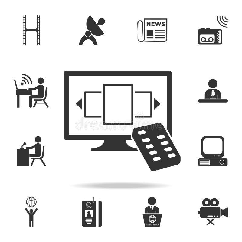Fernsehen und Fernsteuerungsikone Ausführliche Satzikonen der Medienelementikone Erstklassiges Qualitätsgrafikdesign Eine der Sam lizenzfreie abbildung