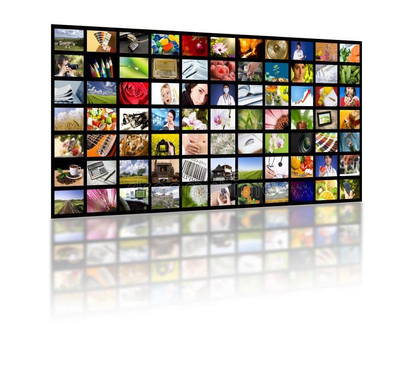 Fernsehenproduktionskonzept. Fernsehfilmpanels stockfoto
