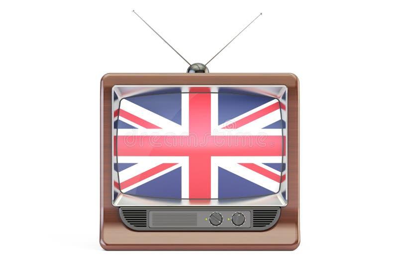 Fernseher mit Flagge von Vereinigtem Königreich Britisches Fernsehkonzept, lizenzfreie abbildung