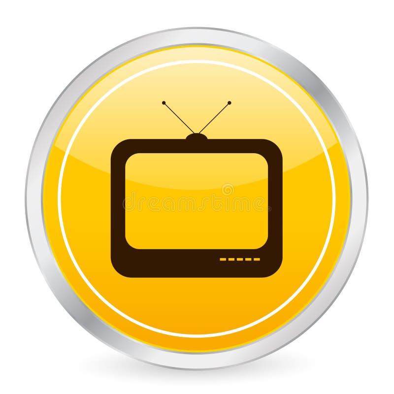 Fernsehgelbe Kreisikone lizenzfreie abbildung