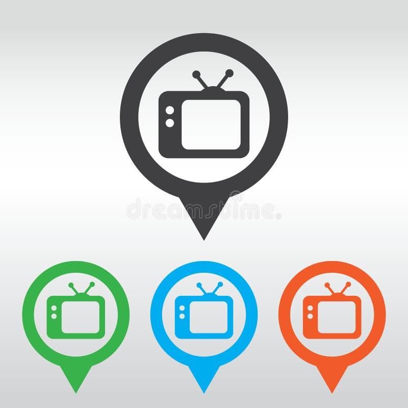 Fernsehikone Retro- Fernsehapparat Ikonenkartenstift vektor abbildung
