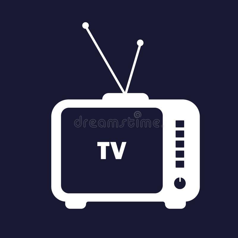 Fernsehikone Retro- Fernsehen Weiße Ikone des Vektors auf dunkelblauem backgr lizenzfreie abbildung