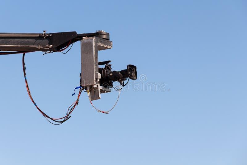 Fernsehkamera auf einem Kran stockbilder