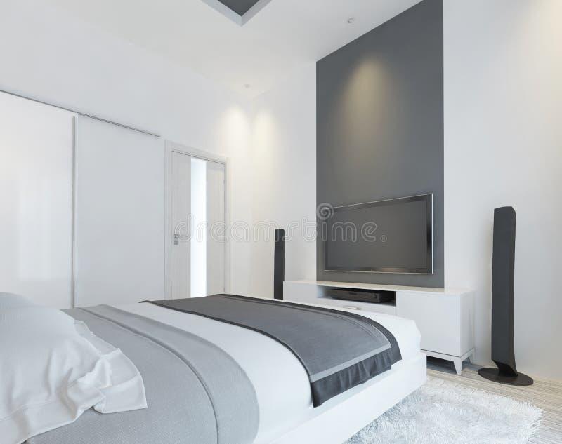 Fernsehkonsole mit Sprechern im modernen Schlafzimmer stock abbildung