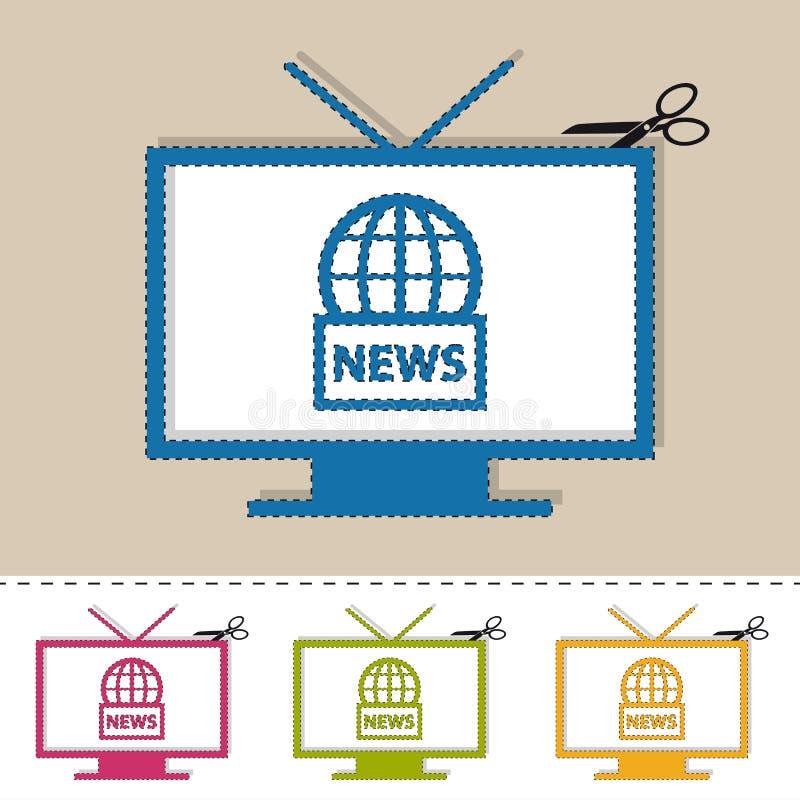 Fernsehnachrichten auf Luft mit Scissor und der Schnitt-Linie - bunte Vektor-Illustration - lokalisiert auf Weiß stock abbildung