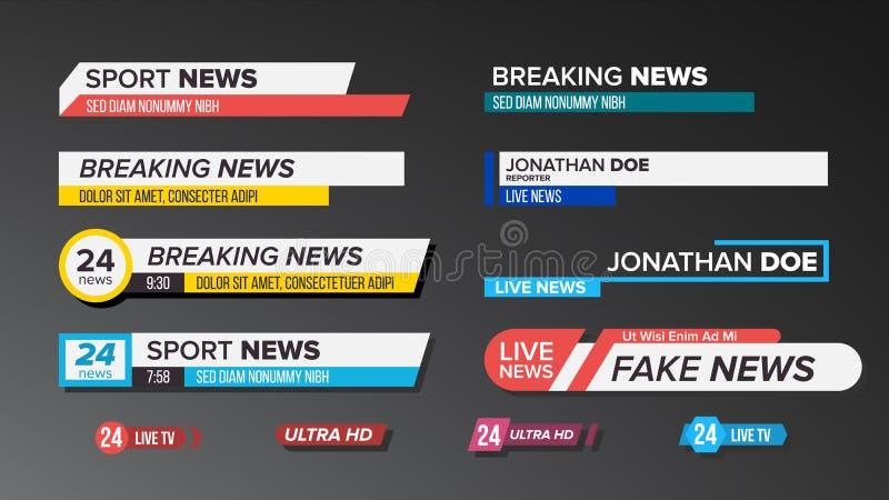 Fernsehnachrichten-Stangen eingestellter Vektor Zeichen der Bauchbinde Aufkleber-Streifen, Ikone Medien-Tag für Fernsehsendung lo lizenzfreie abbildung