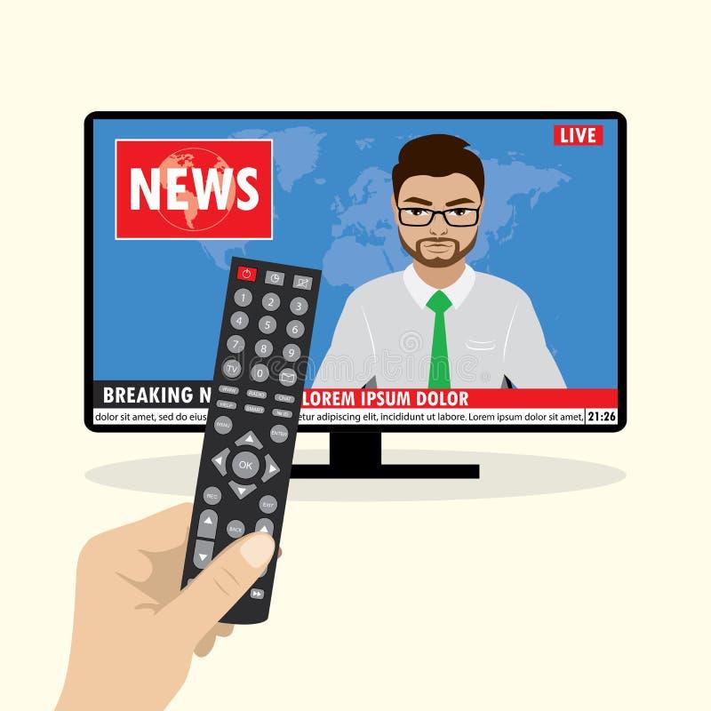 Fernsehnachrichten verankern das Berichten über letzte Nachrichten auf Fernsehschirm stock abbildung
