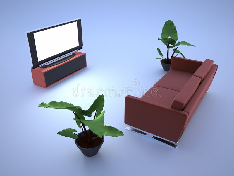 Fernsehraum und -sofa lizenzfreie abbildung